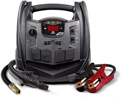 Schumacher Rechargeable AGM Jump Starter for Gas Diesel Vehicles - 1200 Amps with Air Compressor and AC, 12V DC, USB Power Station: image