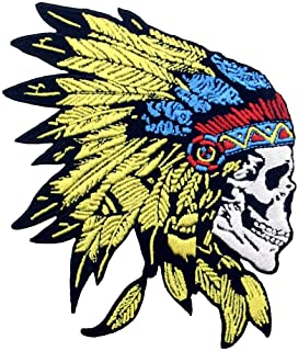 Toppa ricamata da applicare con ferro da stiro o cucitura, tema: Copricapo del cranio dei nativi americani