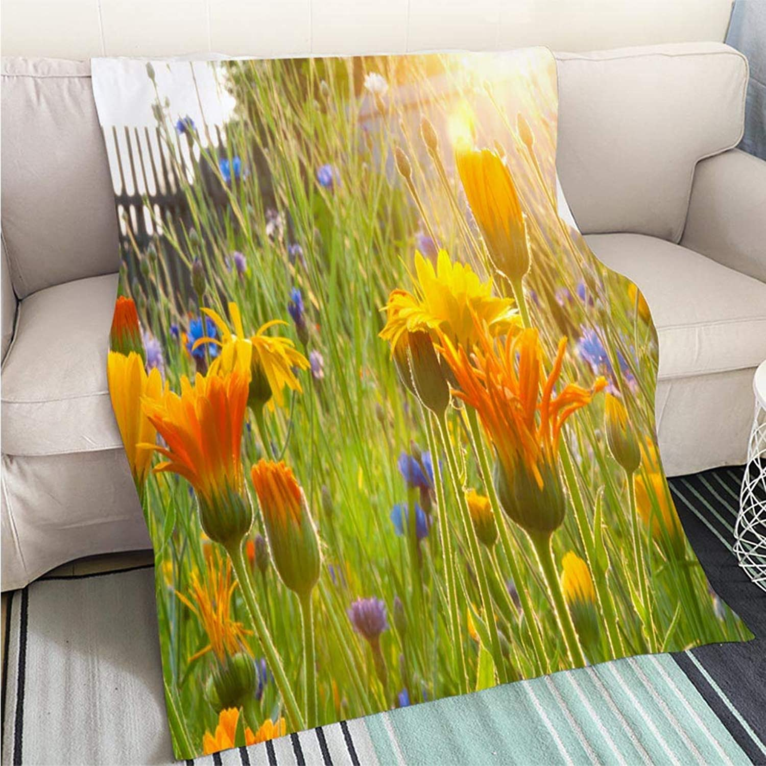 Comforter Multicolor Bed or Couch Garden Flowers at Sunrise Hypoallergenic Blanket for Bed Couch Chair