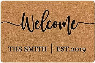 MyPupSocks Personalized Doormat Custom Text Name Customized Outdoor/Indoor Floor Door Mat Welcome
