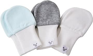 Newborn Baby Mittens - Blue, Grey and White, No Scratch Mittens, 3 Pairs