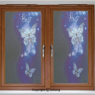 18x42 inch Decorative Window Privacy Film,Fantasy Magical Butterflies Monarch Artistic Morpho Inspiration Frosted Stained Window Clings Static Cling for Home Bedroom Office