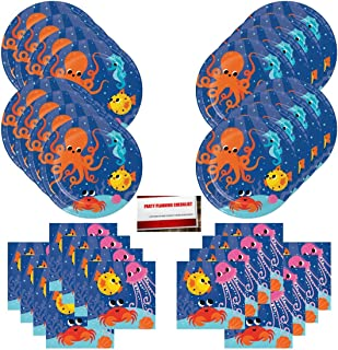 Ocean Beach Sea Fish Sand Party Supplies Bundle Pack for 16 Guests (Plus Party Planning Checklist by Mikes Super Store)