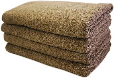 【洗い替え便利な】 綿 100% バスタオル 4枚組 業務用 ブラウン 中厚タイプ 850匁(60×120cm)