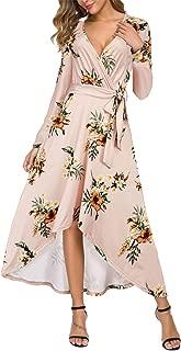 DGMYG Women's Casual Long Sleeve Floral High Low Hem Flowy Swing Maxi Long Dress