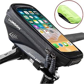 LUROON Fahrrad Lenkertasche wasserdichte Fahrrad Rahmentasche Oberrohrtasche MTB mit TPU-Touchscreen und Kopfhörerloch Fahrradtasche Handy Geeignet für Handys bis 6.5 Zoll