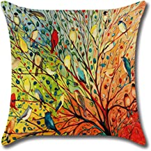 ZHONGPAN Cotton Linen Pillow Set Painting Flower Bird Tree Square Decorative Cushion Cover for 18 X 18 inch Pillow-One