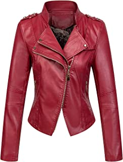 Women's Candy Color Asymmetric Zip Slim Faux Leather Cropped Moto Jacket