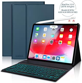 JADEMALL iPad Pro 12.9 Case with Keyboard for Pro 12.9 Inch 2018(3rd Gen),[Support Pencil Charging] Detachable 7 Color Backlit Buleetooth Wireless Keyboard Cover, Magnetic Stand Folio Case, Blue