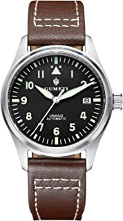 Vintage Luxury Pilot's Uranus Automatic Date Watch Homage Aviator Swiss Luminescent with Italian Hand-Stitched Calfskin Brown Leather Strap