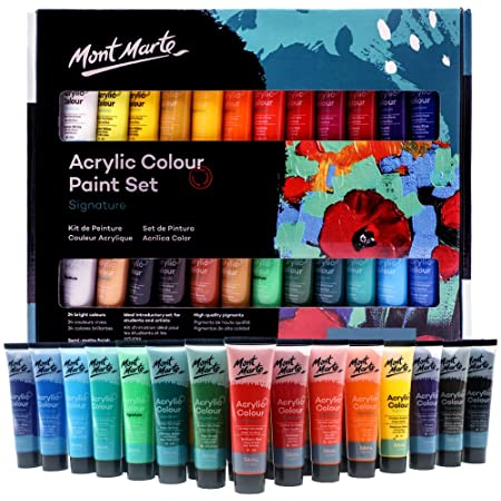 Mont Marte アクリル ペイントセット 24色36ml 完璧なセット ファブリック、キャンバス、木製品、レザー、ダンボール、セラミック、紙、MDF、Craftsに最適