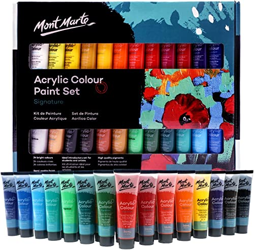 Mont Marte Acrylic Paint Set 24 Colours 36ml, Perfect for Canvas, Wood, Fabric, Leather, Cardboard, Paper, MDF and Cr...
