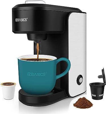 EZBASICS Single Serve Coffee Maker, Mini Coffee Brewer for Single Cup Capsule & Ground Coffee, Black, Single Cup Coffee Maker with Visual Water Reservoir