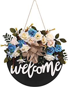 Virtual Unique Welcome Sign for Front Door - Round Wooden Hanging Decoration with Floral Crown for Home, Office or Shop - Rustic, Farmhouse Front Porch Decor - Floral Chalkboard Signage - 12-Inch