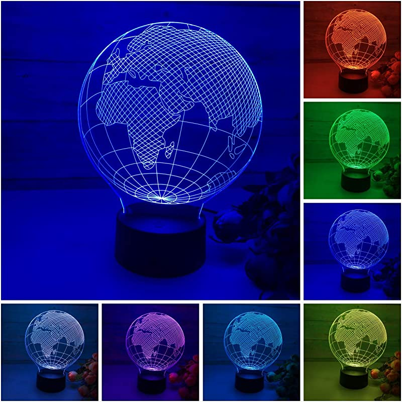 3D LED Lamp Globe Earth 3D Illusion Lamp Night Light 7 Color Light For Kids And Home Decoration