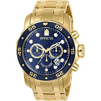 Invicta Men's Pro Diver Scuba 48mm Gold Tone Stainless Steel Chronograph Quartz Watch, Gold/Blue (Model: 0073)