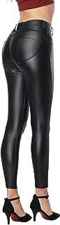 Faux Leather Pants Leggings PU Sexy Elastic Pant Women's Butt Lift Super Slim Wet Look Thin