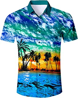 Goodstoworld 2019 Trend Men's Button Down Hawaiian Shirt Party Casual Short Sleeve Aloha Tee