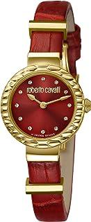 ROBERTO CAVALLI Women's Diamond Scala Gold Tone Swiss Quartz Watch with Leather Calfskin Strap, Red, 10 (Model: RV2L023L0046)
