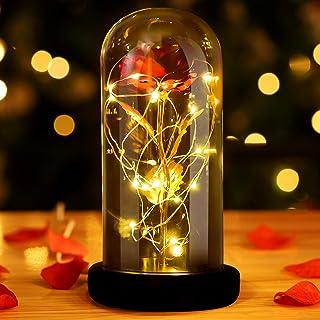 INAROCK La Bella y la Bestia Rose, Valentine Red Silk Rose en Dome Glass con 20 LED Fairy Lights String, Romántica Sorpres...