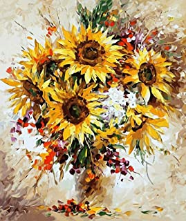 JynXos Wooden Framed Paint By Number Flower Bouquet Canvas DIY Painting - Sunflower