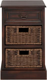 Urban Designs Imported 3-Drawer Wooden Storage Chest Night Stand with Wicker Baskets, Brown