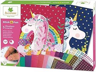 Mosaïques autocollantes pour enfants - 5 maxi tableaux Licornes - Loisir créatif - Stick & Fun - Dès 5 ans - Sycomore - CR...