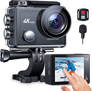 Crosstour Action Cam Nativo 4K 60FPS Touch Screen Zoom 8X Microfono, Stabilizzazione EIS Avanzato WiFi Impermeabile 40M Va...
