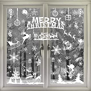 FINGOOO Glitter Snowflake Window Clings 104pcs for Merry Christmas Holiday Winter Window Decorations (6sheets)