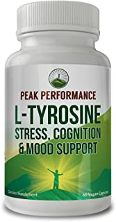 L Tyrosine for Adrenal Health Support by Peak Performance. L-Tyrosine Amino Acid Supplement for Balanced Cortisol Levels, Mental Clarity and Mood Support. 60 Vegan Capsules. Reduce Brain Fog