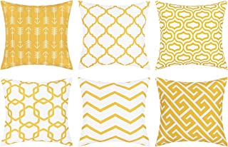 Throw Pillow Covers Set of 6 Modern Decorative Throw Pillow Cases Geometric Pillow Covers Cushion Covers for Couch Sofa Bedroom Car (Yellow and White, 18 x 18 Inch)