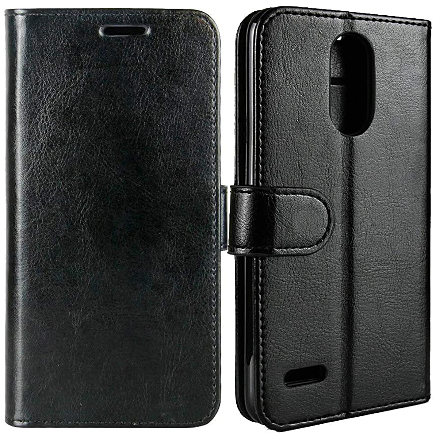 [TwoBear] Luxury Leather Case for LG Aristo 3, LG Aristo 2, LG Aristo 2 Plus, LG Tribute Empire, LG Tribute Dynasty, LG Risio 3, Flip Wallet Card Photo Pocket Stand, Line Sewn Edge Anti-Crack, Black