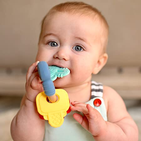 Lots A Loops Toy Many Colourful Bows Rattle Teether 6M+ Nuby Multi-Colour