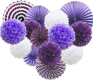 ADLKGG Purple Hanging Paper Party Decorations, Round Paper Fans Set Paper Pom Poms Flowers for Birthday Wedding Graduation Baby Shower Events Accessories