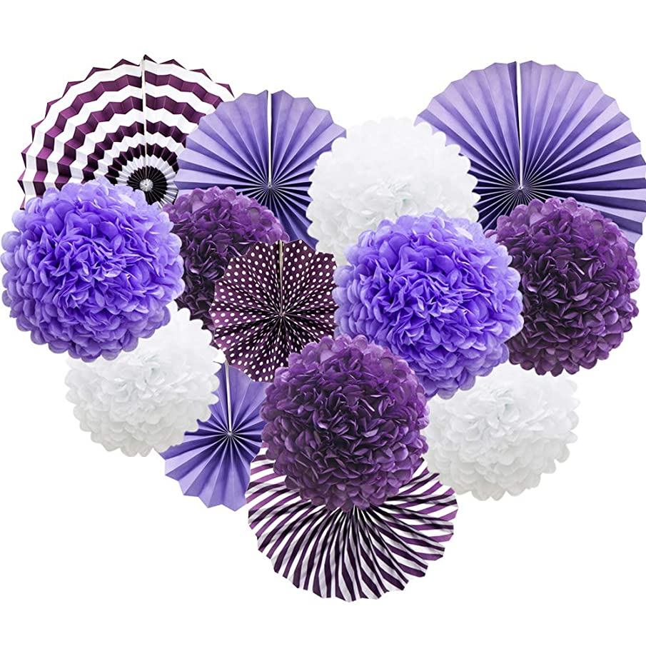 Purple Hanging Paper Party Decorations, Round Paper Fans Set Paper Pom Poms Flowers for Birthday Wedding Graduation Baby Shower Events Accessories