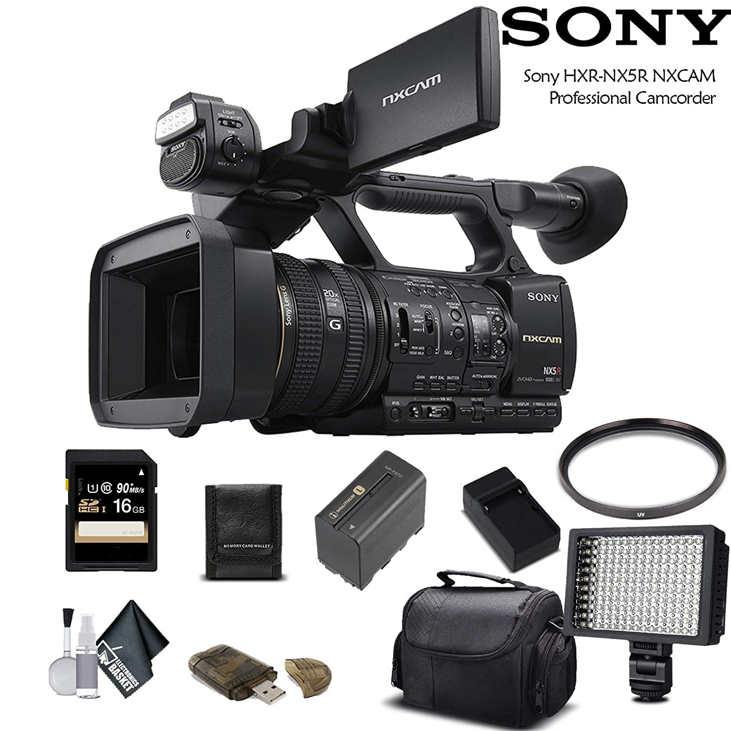 Sony HXR-NX5R NXCAM Professional Camcorder (HXR-NX5R) with 16GB Memory Card, Extra Battery and Charger, LED Light, Case and More. - Starter Bundle