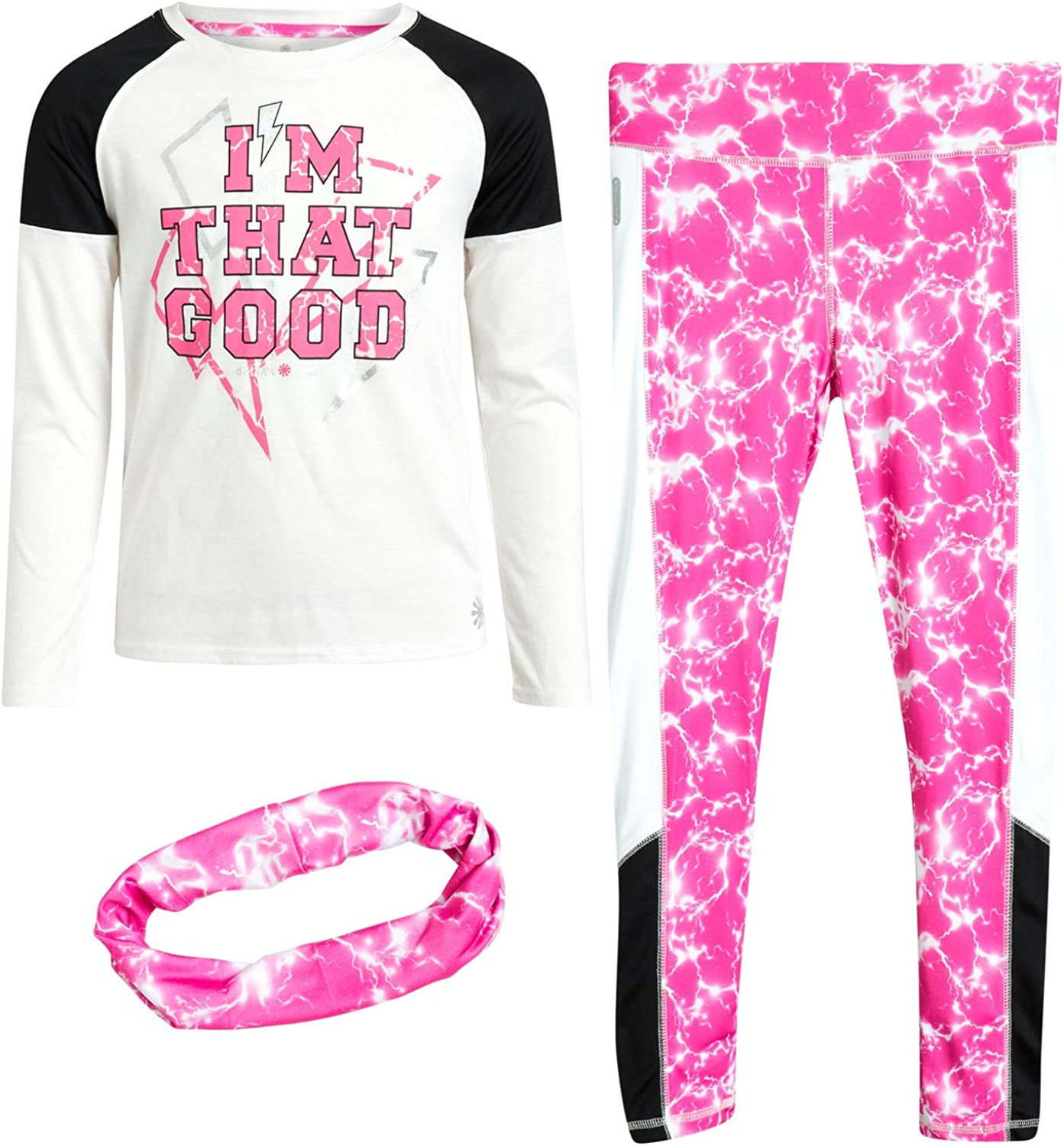 Long Sleeve T-Shirt and Leggings Sweatpants Set with Headband dELiAs Girls Activewear Set