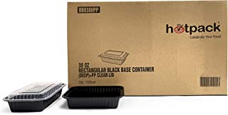 Hotpack Black Base Rectangular Meal Prep Containers with Clear Lids, 32 Oz, 150 Pieces 150 Units