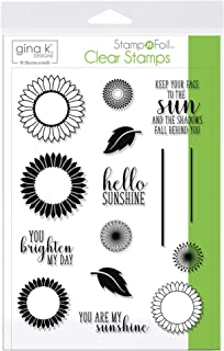 Gina K. Designs for Therm O Web 18105 StampnFoil Clear Stamps, Graphic Sunflowers