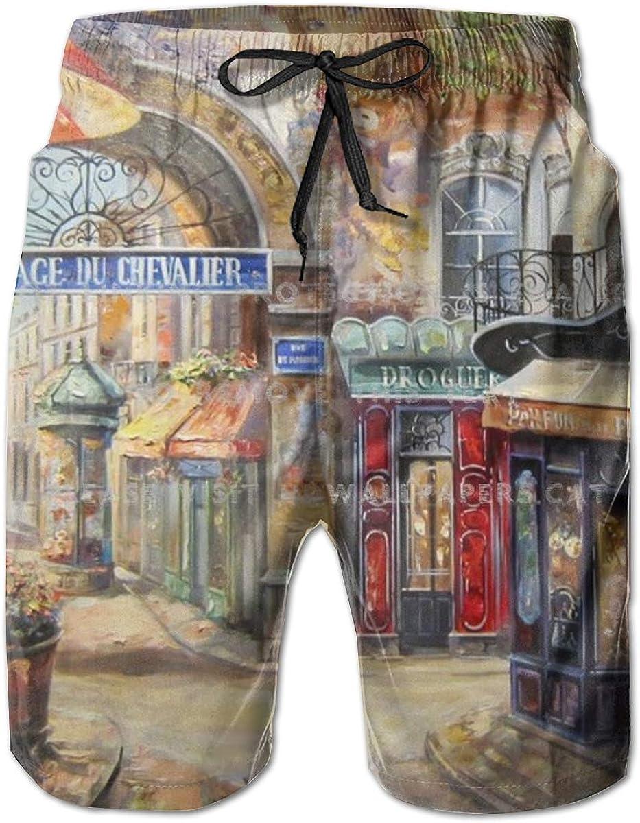 Mens 100% Polyester Paris Cheap bargain Street Bea Cheap sale Painting Beautiful Cool Art