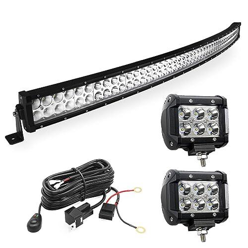led light bar yitamotor curved 50 inch 288w light bar combo + 2 pcs 18w  spotlight