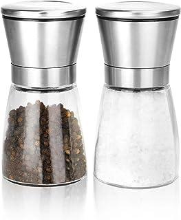 Molinillos de sal y pimienta Pack de 2 | Par de saleros ajustables | Molinos de especias de acero inoxidable bruñido| M&W ...