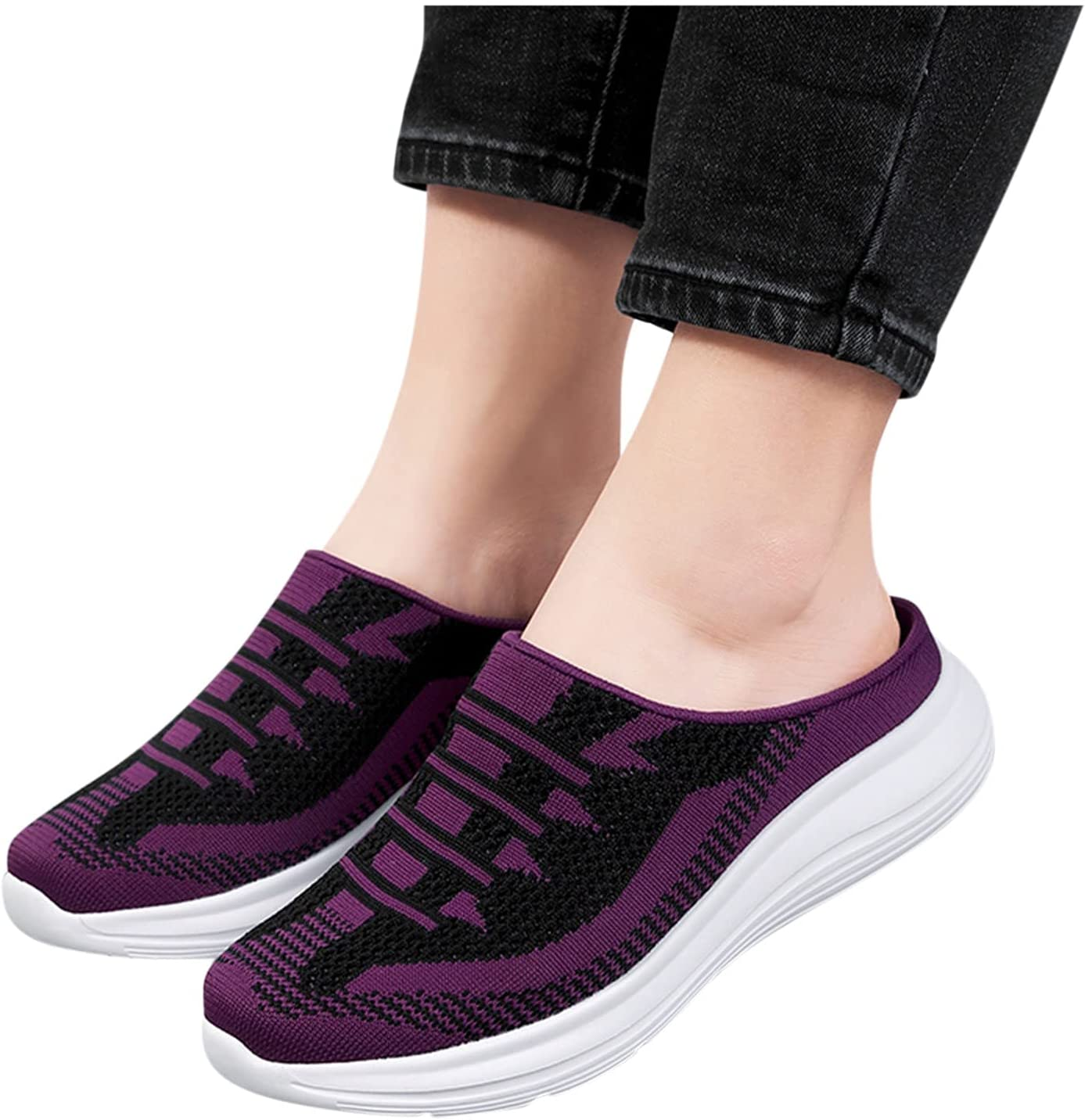 Sneaker Slippers Womens Breathable Mesh Shoes Platform Sneaker Casual Walking Dog Sandal Driving Shoes Comfy Sock Shoes