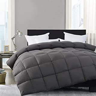 HOMBYS Luxury Gray Real California King Down Comforter 108 x 98 All Season Cali Oversized Feather Duvet Insert Hypo-allergenic 100% Cotton Cover Down Proof with Corner Tabs(Cal King,108 x 98 inch)