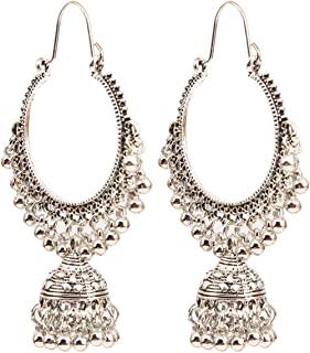 Beiswe Boho Vintage Indian Ethnic Pearl Drop Earrings Jewelry Antique Gypsy Tribal Oxidized Gold Tassel Chandelier Earrings (Silver)