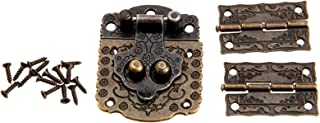 Dophee Decorative Wood Case Box Antique Embossing Hasp Latch Lock with Mini Hinge and Screws