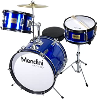 Mendini by Cecilio 16 inch 3-Piece Kids/Junior Drum Set with Adjustable Throne, Cymbal,..