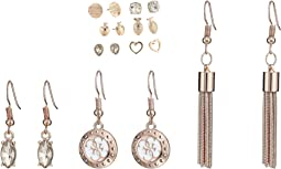 9-Pair Earrings Set Includes Stud and Dainty Drop Earrings