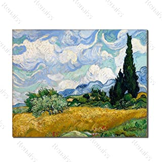 Renaiss 36x24 Inches Canvas Wall Art Vincent Van Gogh a Wheatfield with Cypresses Oil Painting Home Wall Decor for Living Room Bedroom Exhibition Hall Artwork Frameless Rolled Package