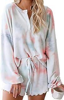 Womens Lounge Sets 2 Piece Pajamas Set Long Sleeve Tops...